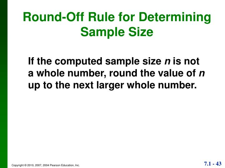 Round-Off Rule for Determining Sample Size