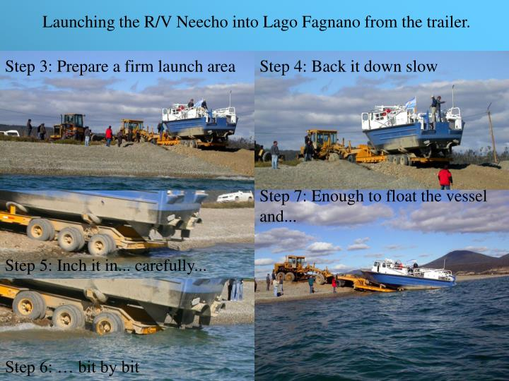 Launching the R/V Neecho into Lago Fagnano from the trailer.