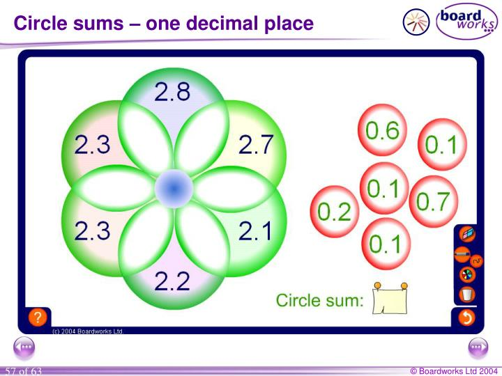 Circle sums – one decimal place