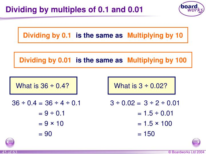 Dividing by multiples of 0.1 and 0.01
