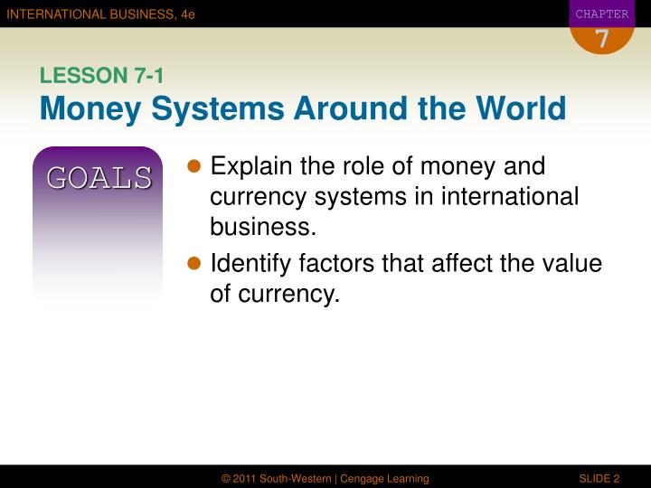 Lesson 7 1 money systems around the world