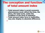 the conception and function of total amount index