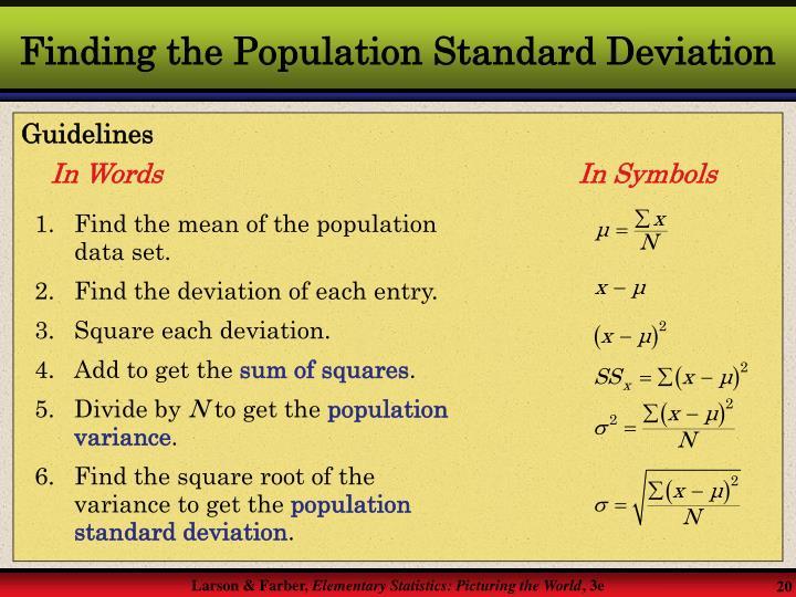 Finding the Population Standard Deviation