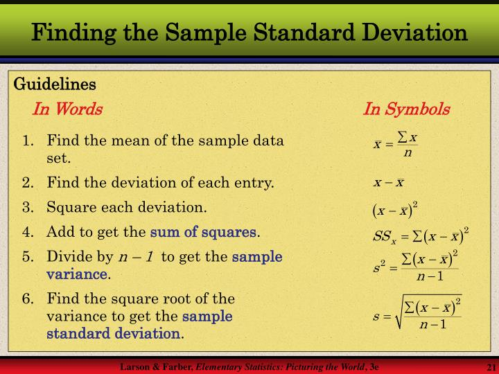 Finding the Sample Standard Deviation