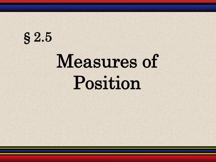 Measures of Position