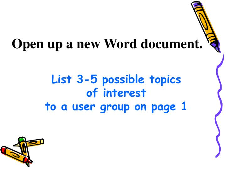 Open up a new word document