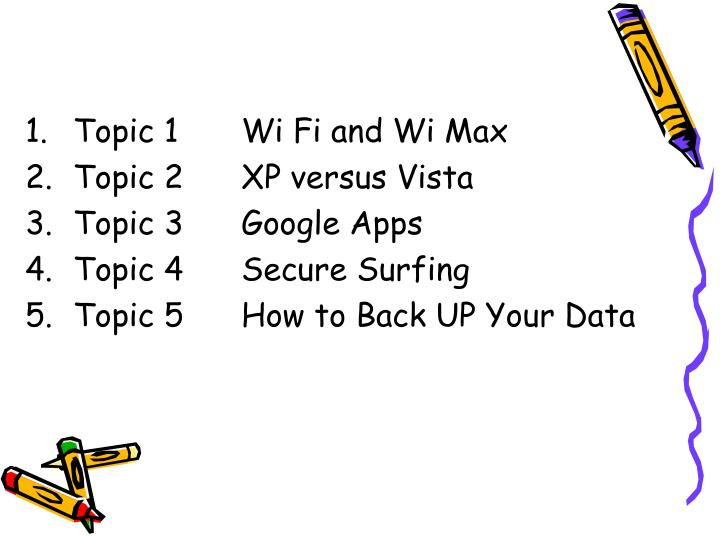 Topic 1	Wi Fi and Wi Max