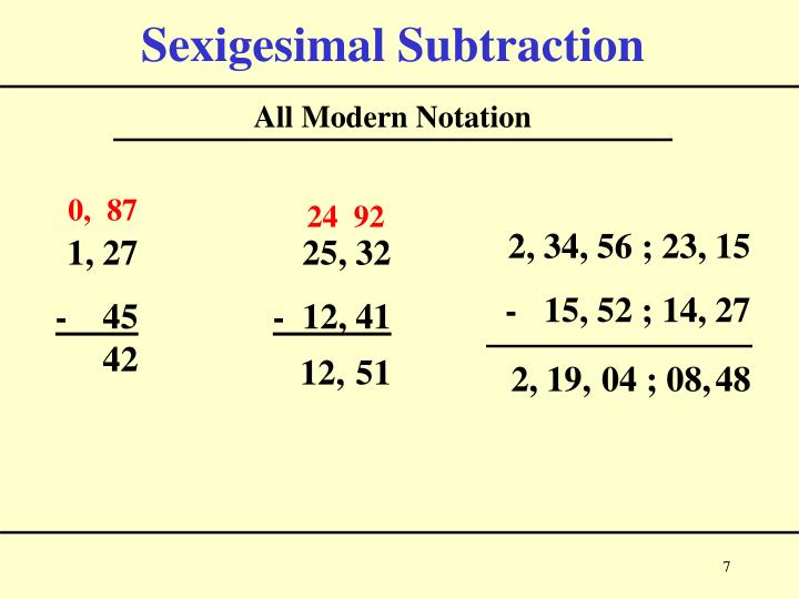 Sexigesimal Subtraction