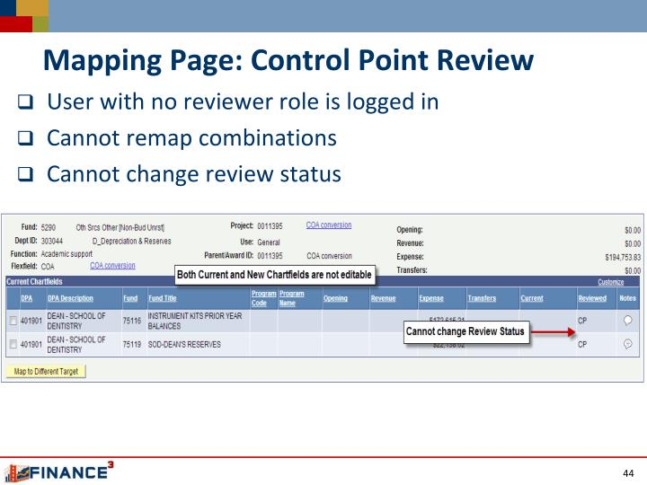 Mapping Page: Control Point Review