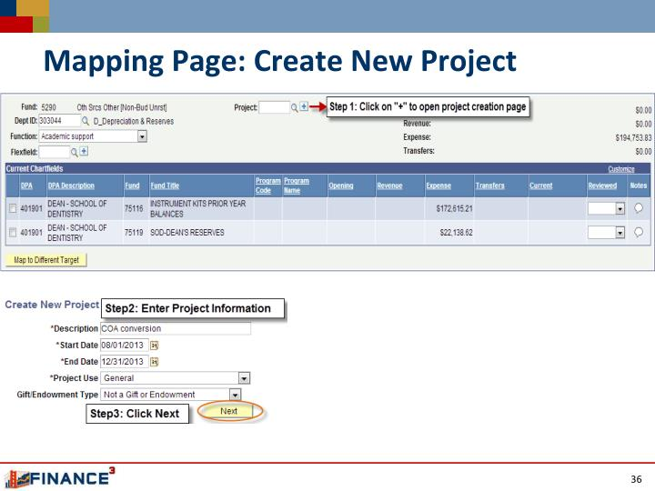 Mapping Page: Create New Project