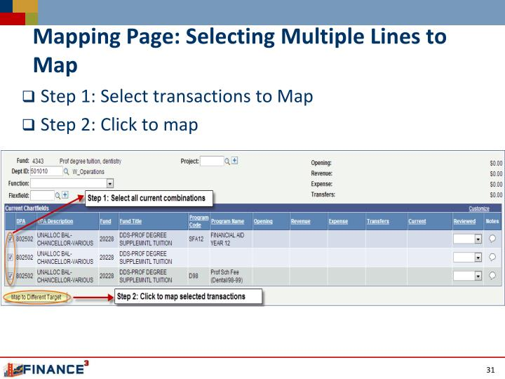 Mapping Page: Selecting Multiple Lines to Map