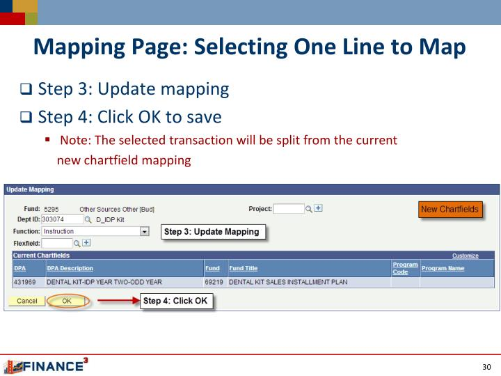 Mapping Page: Selecting One Line to Map