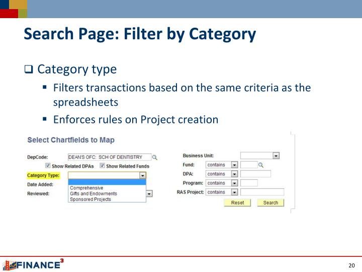 Search Page: Filter by Category