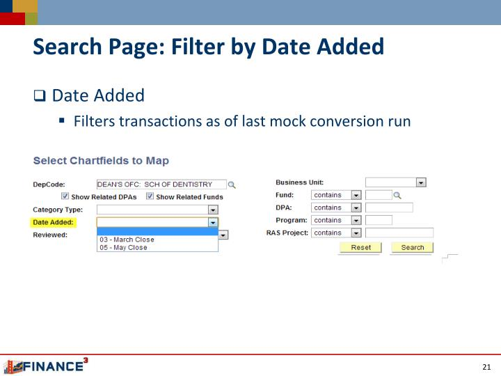 Search Page: Filter by Date Added