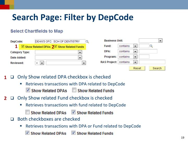 Search Page: Filter by DepCode