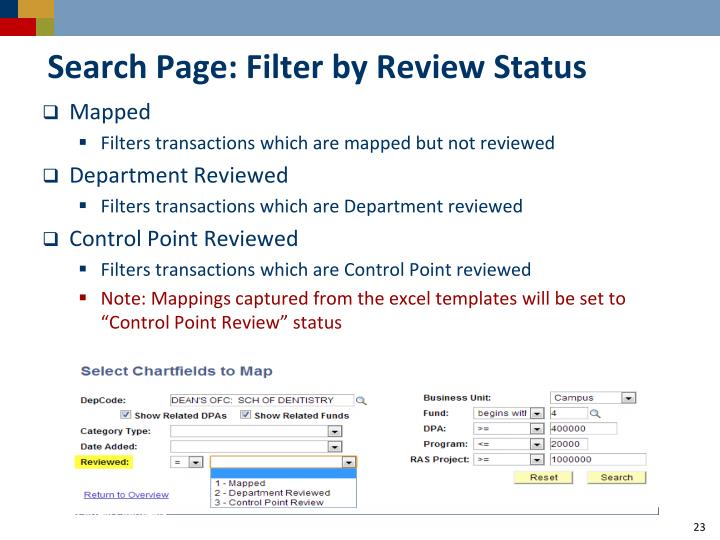 Search Page: Filter by Review Status