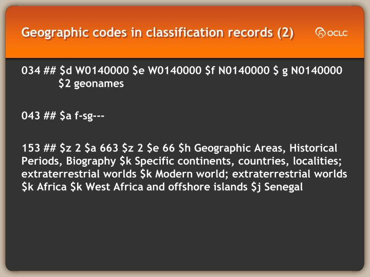 Geographic codes in classification records (2)