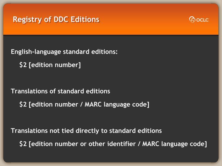 Registry of DDC Editions