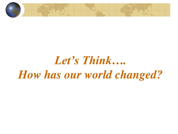 Let's Think….