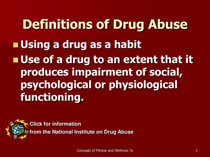 Definitions of drug abuse