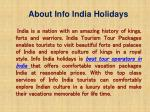 about info india holidays
