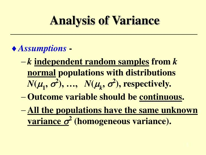 analysis of variance essay Assignment 3 we have learned that analysis of variance can be used to assess global warming suppose you go to a talk on global warming and states that the current global climate has an average temperature of 15 degrees c based on 50 years of data.