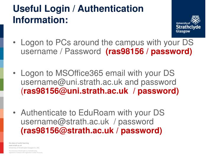 Useful Login / Authentication Information: