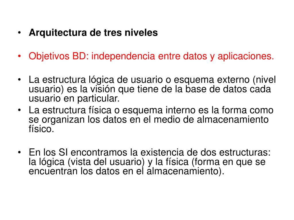 Ppt Arquitecturas De Bd Modelo Ansi Sparc Powerpoint