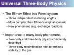 universal three body physics