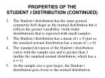 properties of the student t distribution continued