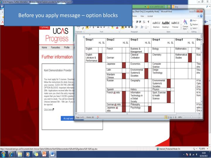 Before you apply message – option blocks