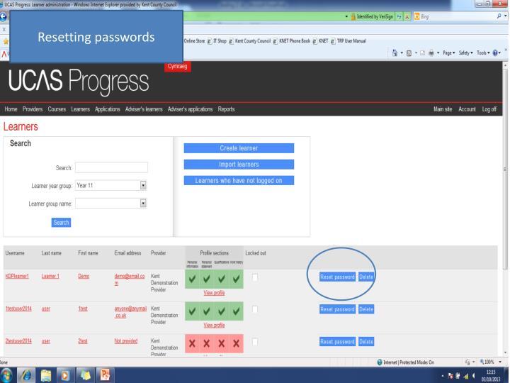 Resetting passwords