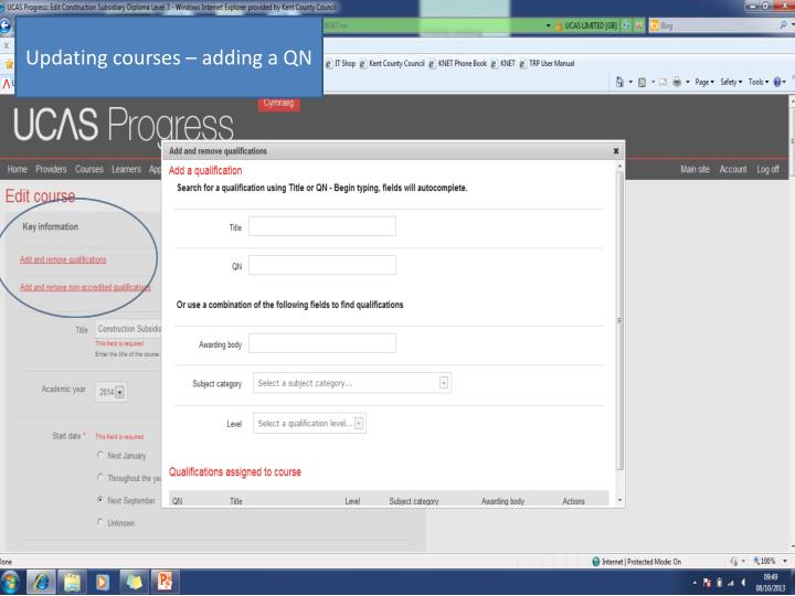 Updating courses – adding a QN