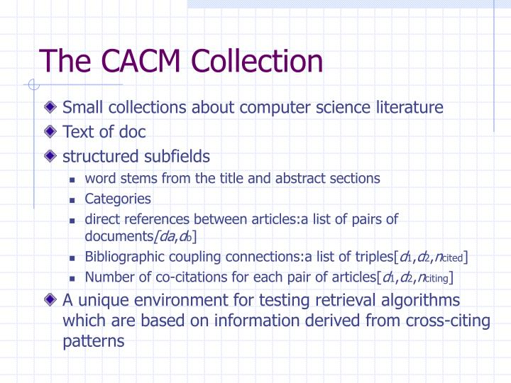 The CACM Collection