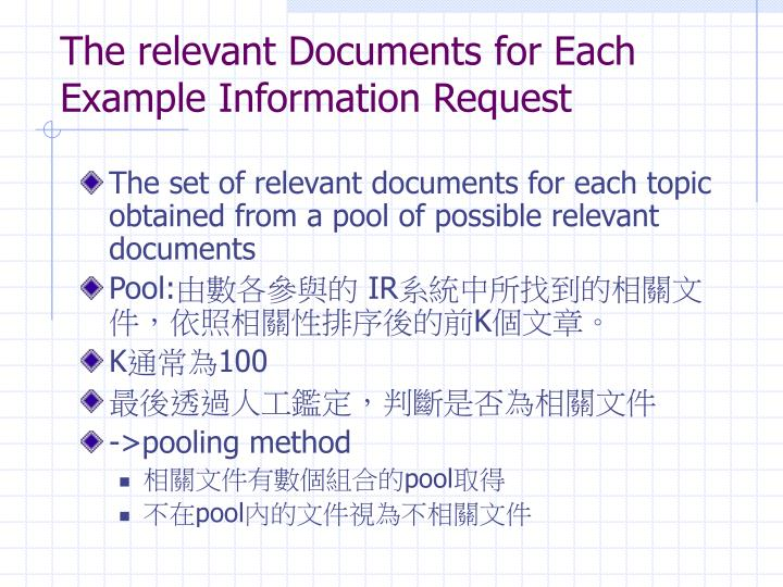The relevant Documents for Each Example Information Request
