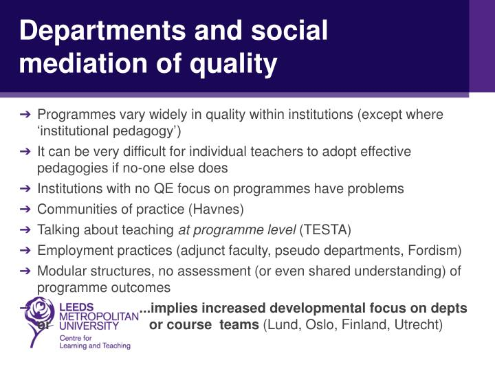 Departments and social mediation of quality