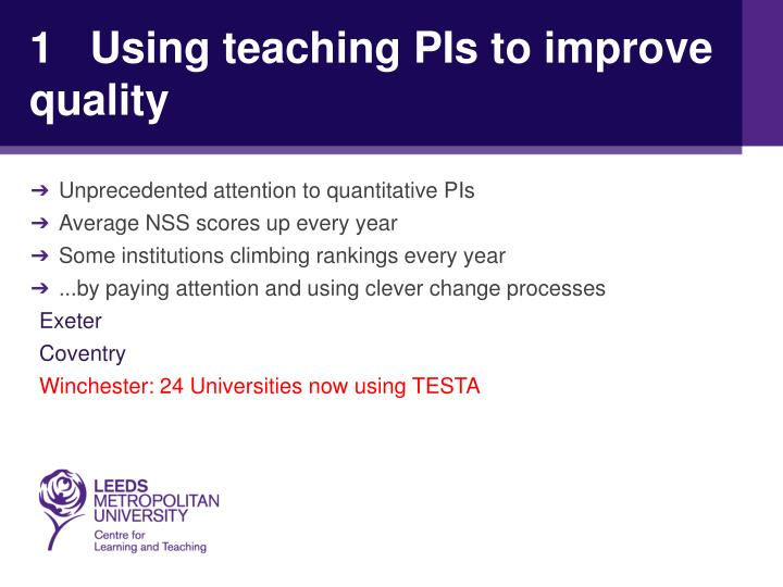 1   Using teaching PIs to improve quality