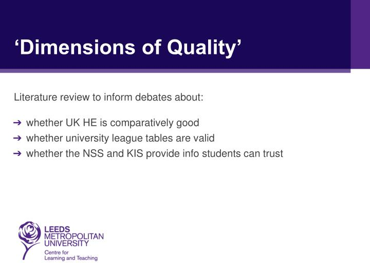 'Dimensions of Quality'