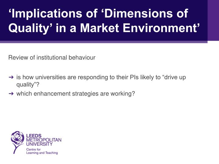 'Implications of 'Dimensions of Quality' in a Market Environment