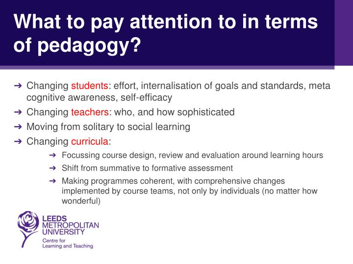 What to pay attention to in terms of pedagogy?