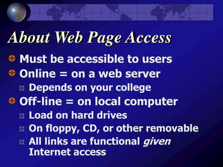 About Web Page Access