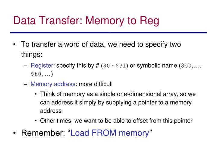 Data transfer memory to reg