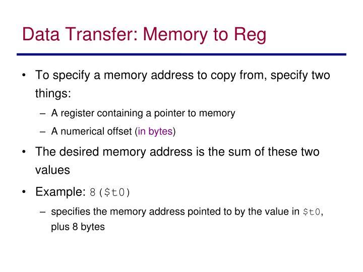 Data Transfer: Memory to Reg