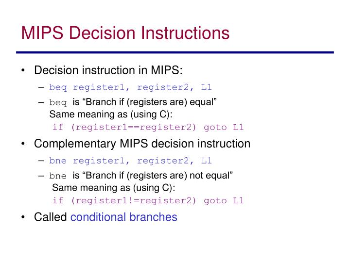 MIPS Decision Instructions