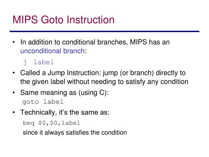 MIPS Goto Instruction