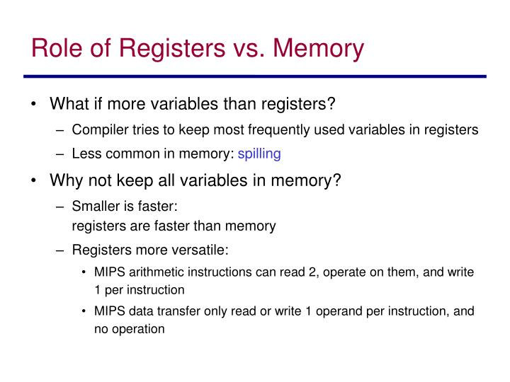 Role of Registers vs. Memory