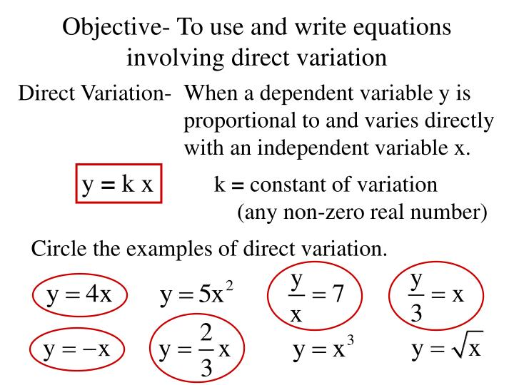 Ppt Objective To Use And Write Equations Involving Direct