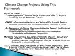 climate change projects using this framework