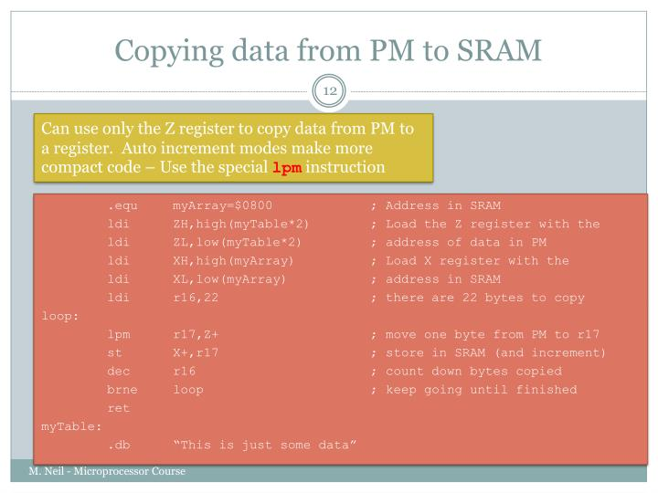 Copying data from PM to SRAM