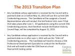 the 2013 transition plan